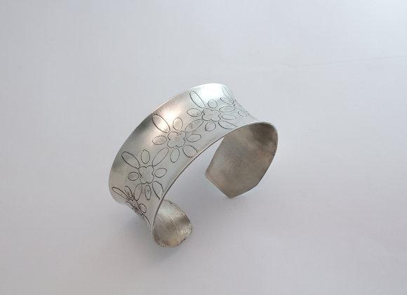 Daisy Flowers on Sterling Silver Cuff Bracelet