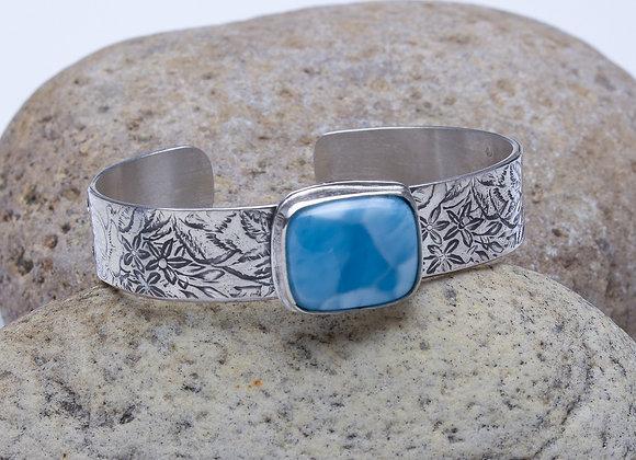Larimar and Roses Cuff Bracelet
