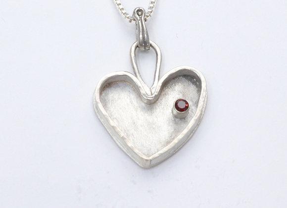 Sterling Silver Framed Heart with Garnet Pendant