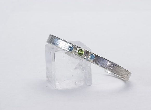Sterling Silver Cuff with Peridot and Swiss Blue Topaz