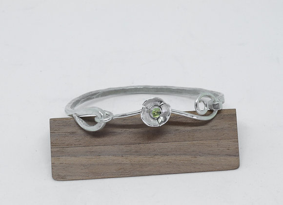 Sterling Silver Hinged Bangle with Flower and Peridot