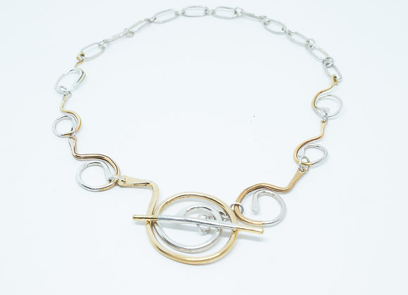 Handmade Sterling and Brass Swirl Link Necklace