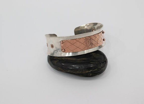 Fine Silver and Copper Riveted Cuff Bracelet
