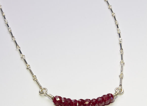 Sterling Silver and Ruby Beaded Necklace