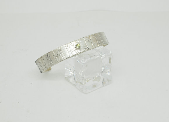 Sterling Silver Cuff with Offset Faceted Peridot.