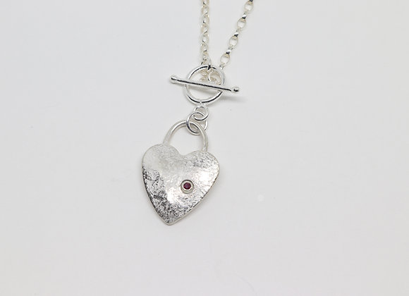 Sterling Reticulated Heart with Ruby Pendant