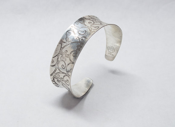 Sterling Silver Cuff Bracelet with a Swirl Design