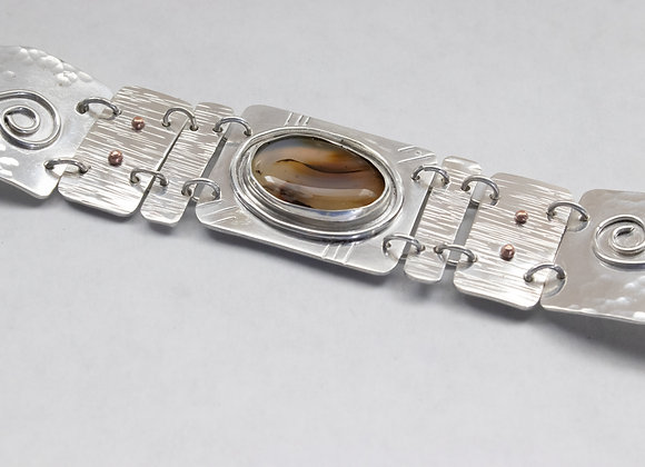 Sterling Silver and Montana Moss Agate Link Bracelet