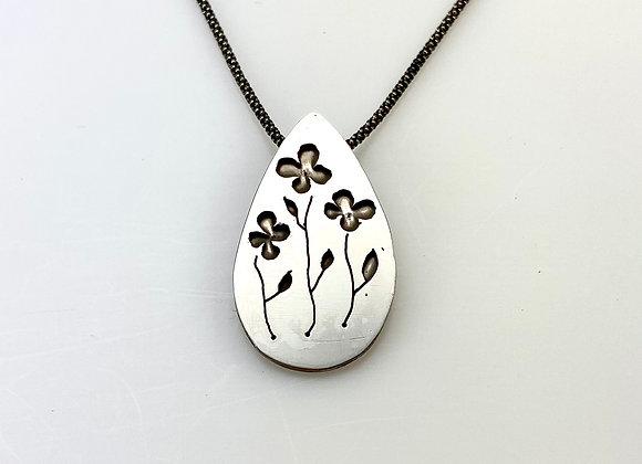 Three Flower Sterling Pendant