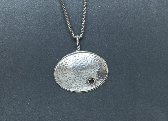 Sterling Silver Oval Pendant with Garnet