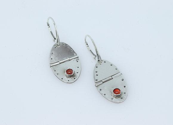 Hinged Sterling Silver and Carnelian Drop Earrings