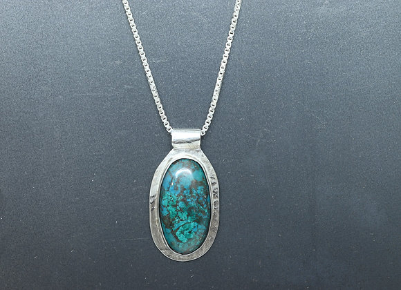 Chrysocolla and Sterling Pendant