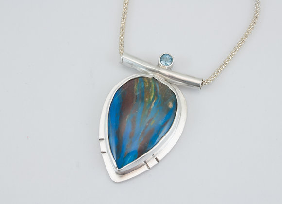 Sterling Silver Pendant with Calsilica Stone and Swiss Blue Topaz