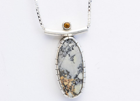 Sterling Silver/Jasper, and Citrine Pendant