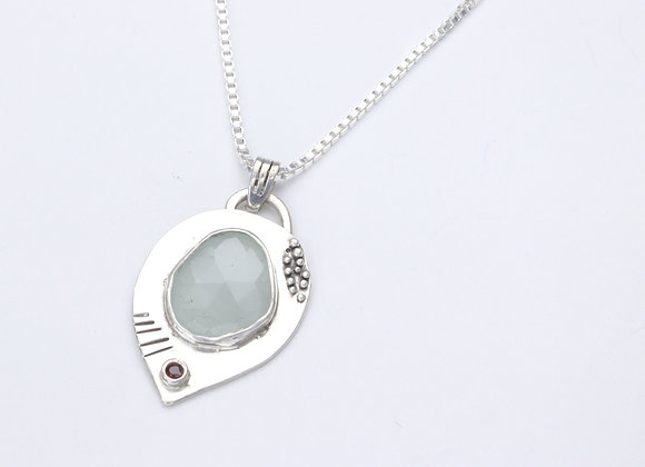 Sterling Silver and Chalcedony with Garnet Pendant