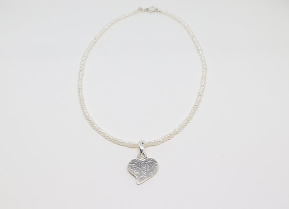 Freshwater Pearls and Sterling Heart Necklace