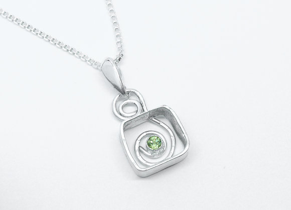 Sterling Framed Swirl Pendant with Peridot