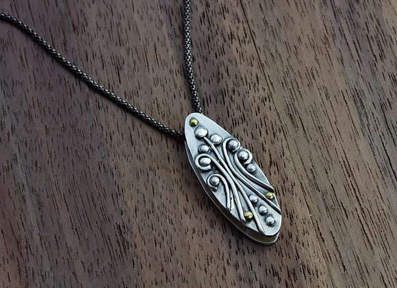Contemporary Sterling and Brass Pendant