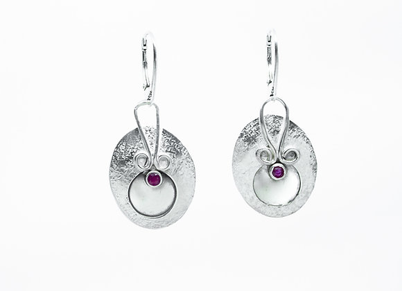 Sterling Silver Ovals with Ruby Earrings