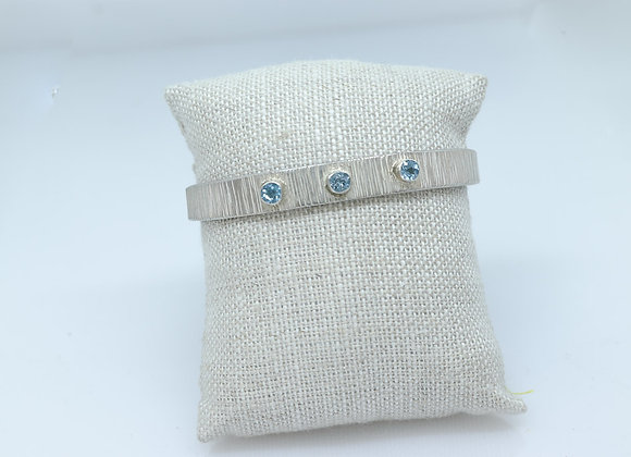 Sterling Silver and Swiss Blue Topaz Cuff Bracelet