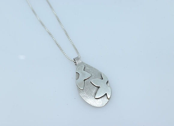 Sterling Silver Pendant with Flower Applique