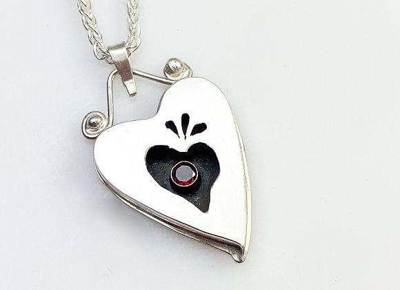 Sterling Silver Heart in a Heart Pendant