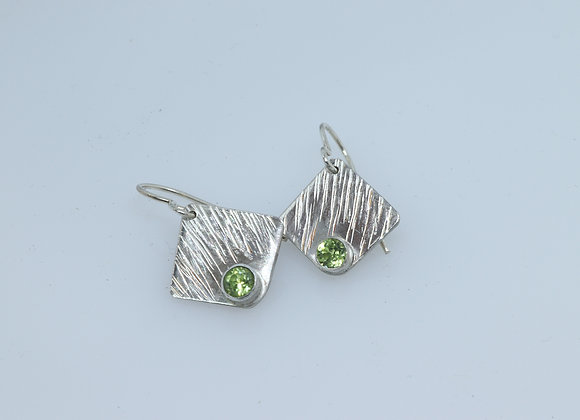 Small Sterling Silver and Peridot Earrings