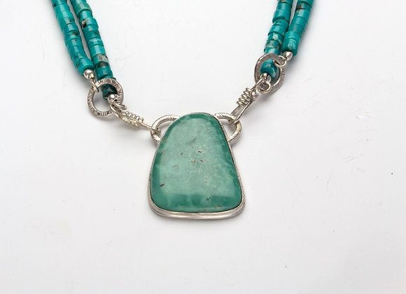 Turquoise Beaded Necklace and Pendant