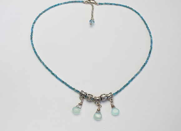 Aqua Marine Faceted Beads and Chalcedony Briolettes