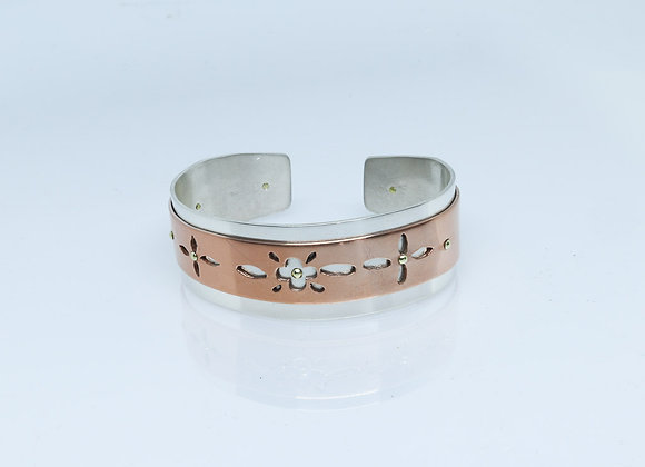 Sterling Silver and Copper Riveted Cuff