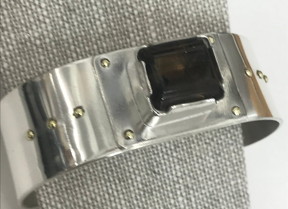A Smokey Topaz and Sterling Silver Cuff Bracelet