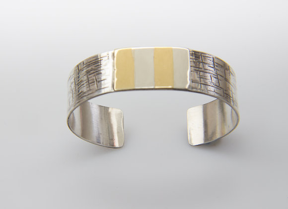 Contemporary Sterling and Gold Cuff Bracelet