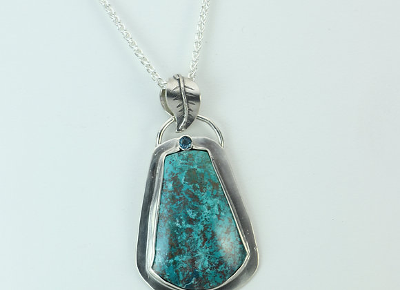 Chrysocolla and Blue Topaz Pendant