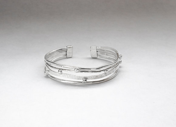 Sterling Silver Wire and Beads Cuff Bracelet