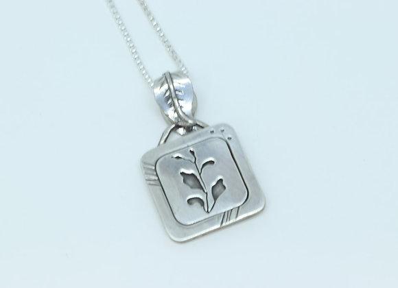 Square Leaf Sterling Silver Pendant