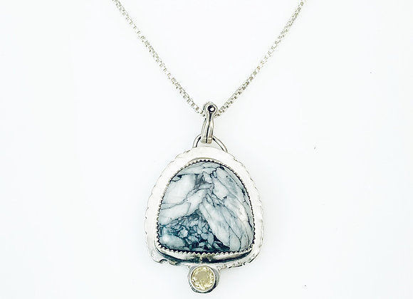 Pinalith and Citrine and Sterling Silver Pendant