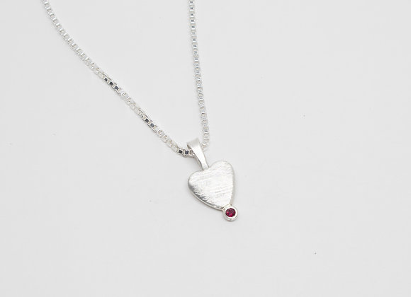 A Tiny Heart with Ruby Accent Pendant