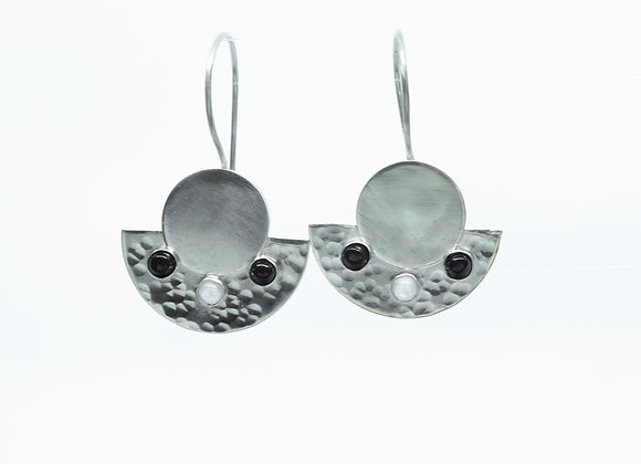Sterling Half Round Earrings with Onyx and Moonstone Earrings