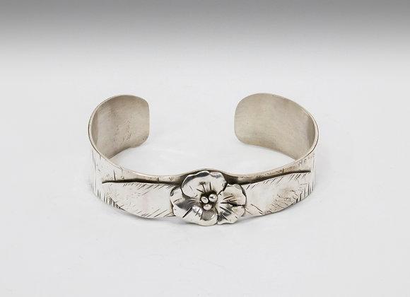 Sterling Flower Cuff Bracelet