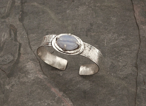 Sterling Silver and Blue Lace Agate Cuff Bracelet