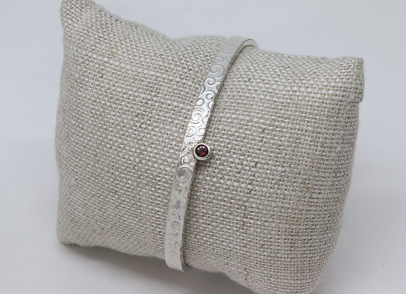 Sterling Silver and Ruby Cuff Bracelet