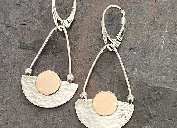 Sterling Half Circle and Brass Drop Earrings