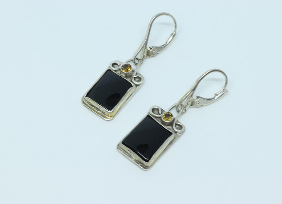Sterling Silver/Onyx/ and Citrine Earrings