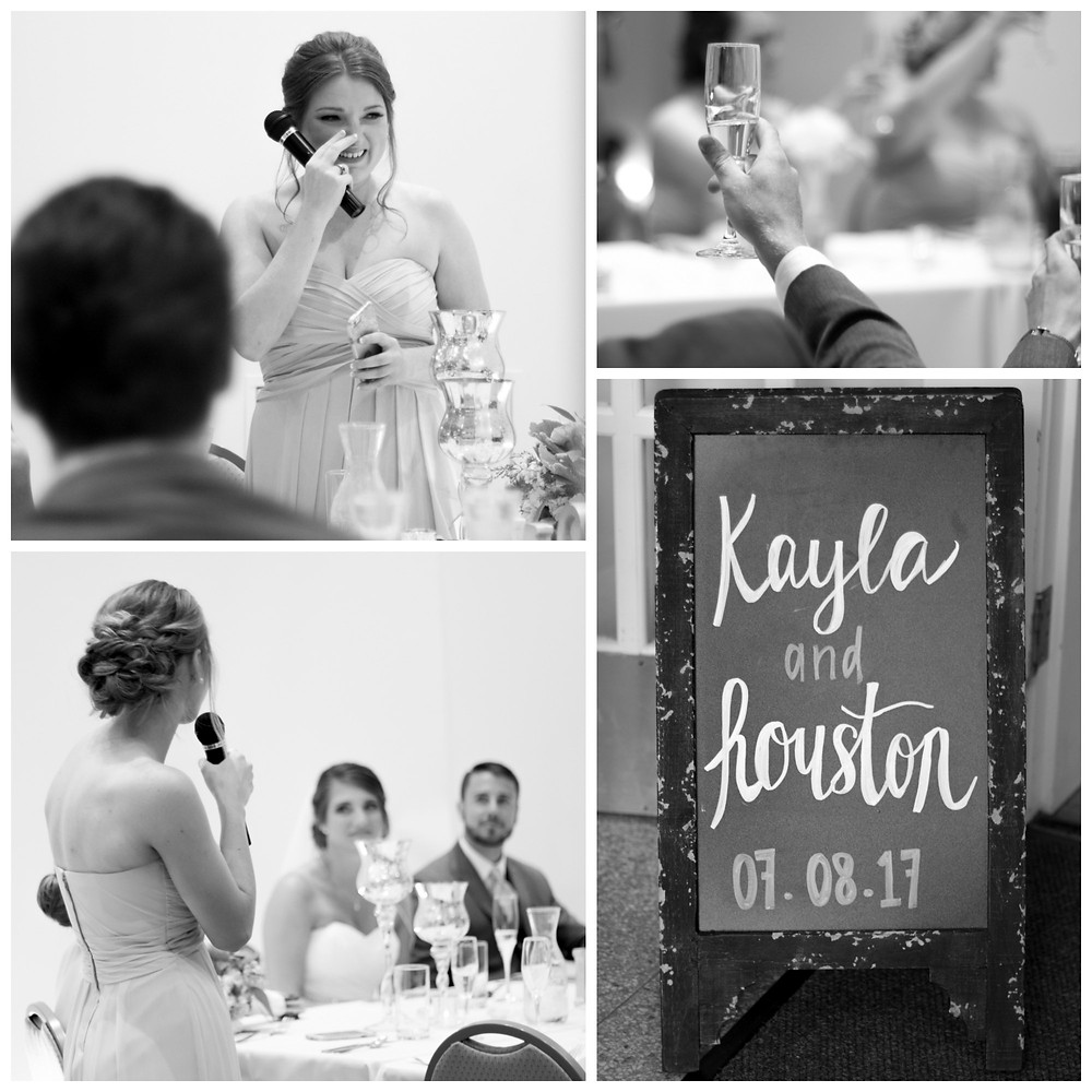 champagne toast reception emotional bridesmaid maid of honor speech black and white photography columbia mo photographer missouri