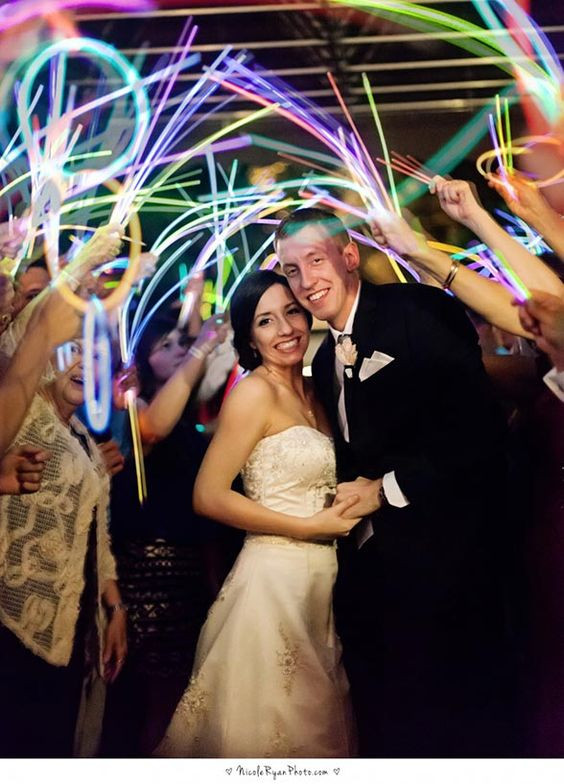 glow sticks inspiration wedding send off photography