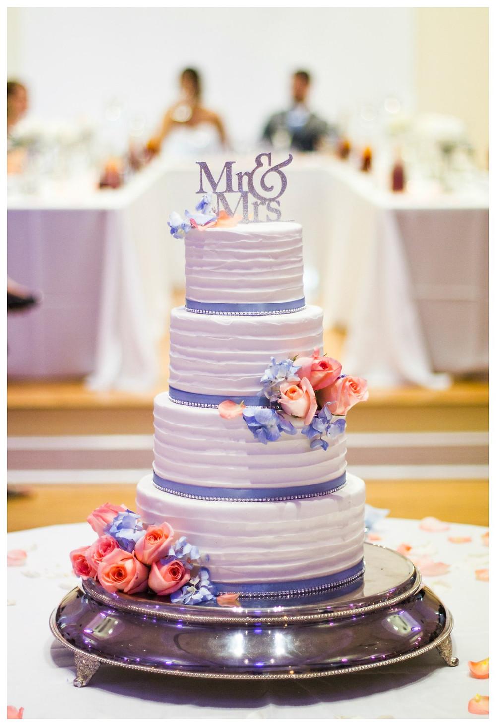 wedding cake blue ribbon pink roses 4 tier columbia mo missouri wedding photographer photography decor