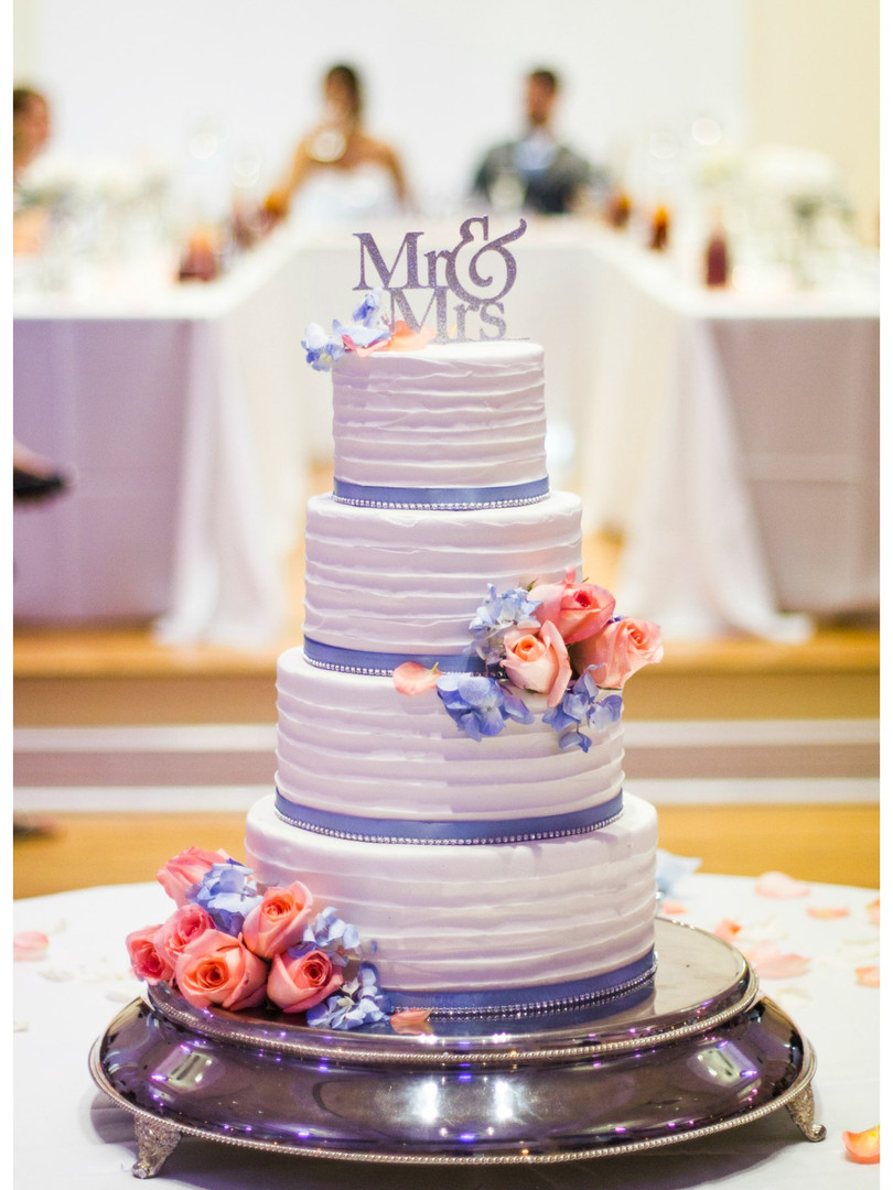 wedding cake blue pink flowers mr mrs cake topper columbia mo missouri photographer bridal party kimball ballroom