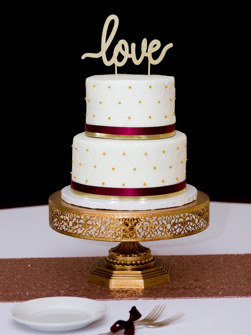 wedding cake love burgundy gold cake stand love cake topper columbia mo missouri kimball ballroom