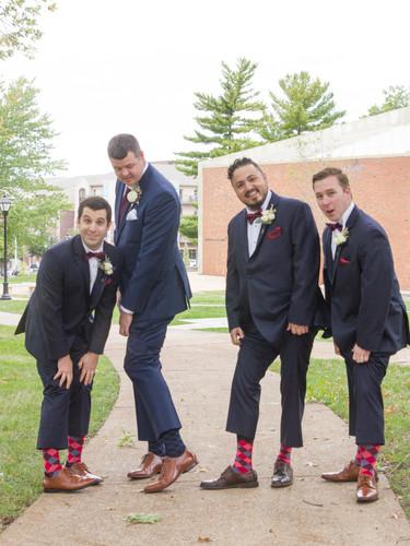 matching groomsmen socks funny pose wedding photographer photography columbia mo firestone baars chapel groom