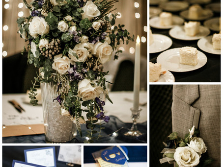 Romantic Neutral Ivory and Navy Wedding